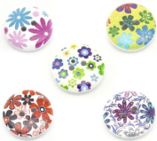 25 Wooden Painted Flower Buttons 5 Assorted Designs B17589