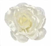 Cuteque International CQA106-IVORY 3-Piece Packed Satin Organza Rose Embellishment, 10cm , Ivory