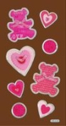 Teddy Bears and Hearts Metal Edge Tags Dimensional Scrapbook Stickers