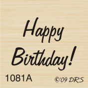 Tiny Happy Birthday Rubber Stamp By DRS Designs