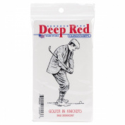 Deep Red Cling Stamp 5.1cm x 7.6cm -Golfer In Knickers