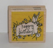 Vap Scrap HAPPY BIRTHDAY Stamp with Wood Base