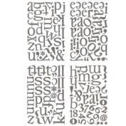 Basic Grey Sugar Rush Die-Cut Chip Stickers 4 Sheets-Alphabet