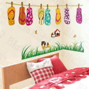 [Lovely Slippers] Decorative Wall Stickers Appliques Decals Wall Decor Home Decor