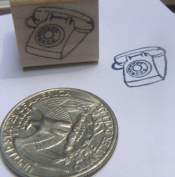 Miniature retro phone rubber stamp WM
