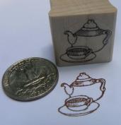 Teapot miniature rubber stamp WM
