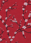 Nepalese Peach Blossom Paper- White Flowers on Red Paper 48cm x 70cm Sheet