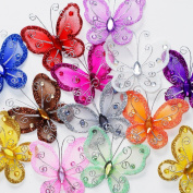 Assorted Colours 5.1cm Nylon Glitter Butterfly Wedding Party Table Scatter Scrapbook Craft Card Decoration Pack of 24