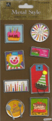 Birthday Metal Edge Tags Dimensional Scrapbook Stickers