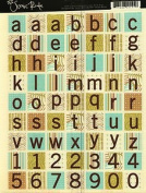 Summer Squares Blue Green Letters Cardstock Scrapbook Stickers