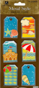 Beach Tag Metal Edge Dimensional Scrapbook Stickers