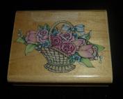 Romantic Flower Basket Rubber Stamp