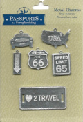 USA Travel Theme Metal Charms for Scrapbooking