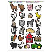 Farm Animals - Pig Chicken Cow Sheep Rooster Duck Barn SLAP-STICKZ(TM) Party Scrapbook Craft Car Window Locker Stickers