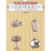 BBQ Bar-b-que Metal Scrapbook Charms Set of 4 - Pig, Hot Dog, Grill, Hamburger