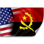 Sticker (Decal) with Flag of Angola and USA
