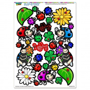 Cute Ladybugs - Flowers Clovers SLAP-STICKZ(TM) Party Scrapbook Craft Car Window Locker Stickers