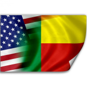 Sticker (Decal) with Flag of Benin and USA