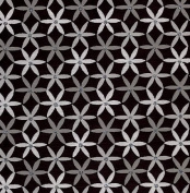 Printed Glitter Paper- Light Medium and Dark Grey Flowers on Black 60cm x 80cm Sheet