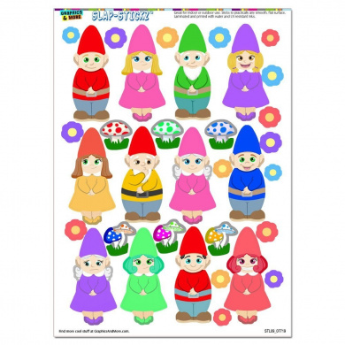 Cute Gnomes - Lawn Fantasy Funny SLAP-STICKZ(TM) Party Scrapbook Craft Car Window Locker Stickers
