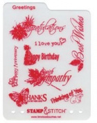 Timeless Touches Stamp & Stitch, Stamp & Template Set - Greetings