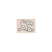 Flower Corner Wood Mounted Rubber Stamp