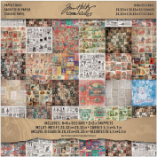 Tim Holtz Idea-ology TH93086 36 Sheets Double-Sided Card Stock Seasonal Collage Mini Stash, Various Sizes, Multicoloured