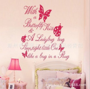 Toprate(TM) Pink With a butterfly kiss,a ladybug hug, sleep tight little one, like a bug in a rug! wall Stickers Wall decal PVC art wall sayings