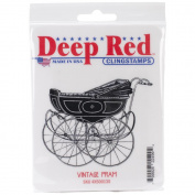 Deep Red Cling Stamp 8.3cm x 7.6cm -Vintage Pram