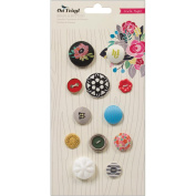 On Trend Brads & Buttons 12/Pkg-Fabric & Eclectic Mix