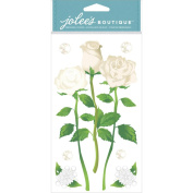Jolee's Boutique Dimensional Stickers, White Long Stem Roses