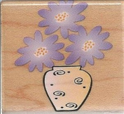 Pop Flowers in Vase Wood Mounted Rubber Stamp
