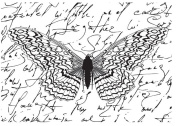ART WAREHOUSE Wings and Script Wood Rubber Stamp
