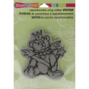 Stampendous Christmas Cling Rubber Stamp 14cm x 11cm Sheet-Teddy Angel