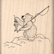 Bear Fishing Rubber Stamp - 2.5cm - 1.3cm x 2.5cm - 1.3cm