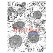 Deep Red Cling Stamp 7.6cm x 10cm -Sunflowers Background