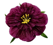 Cuteque International 6-Pack Eggplant Soft Silk Cosmo Flower with Yellow Peep Centre, 7.6cm