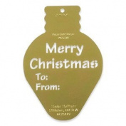Heritage Handcrafts Brass Stencil - Christmas Tag - Bulb with To & From