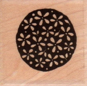 Flower Circle Wood Mounted Rubber Stamp
