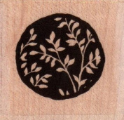 Leafy Solid Circle Wood Mounted Rubber Stamp