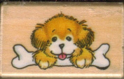 """Puppy's Treat"" Puppy with Bone Rubber Stamp on Wooden Block"