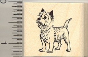 Tiny Alert Cairn Terrier Rubber Stamp - Wood Mounted