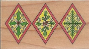Holiday Diamond Border Wood Mounted Rubber Stamp