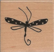 Mod Dot Butterfly Wood Mounted Rubber Stamp