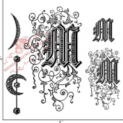 Something Tattered M Initial Monogram Clear Stamps, 10cm by 10cm