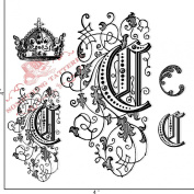 Something Tattered C Initial Monogram Clear Stamps, 10cm by 10cm