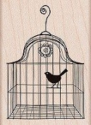 Bird in a Cage Wood Mounted Stamp