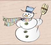 Sketched Snowman Wood Mounted Rubber Stamp