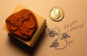 3 Bees Rubber Stamp Wm 3.2cm x 3.2cm