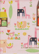 Baby Animals Rolled Gift Wrapping Paper on Pink Background